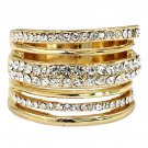 Noble loop small crystal gold ring