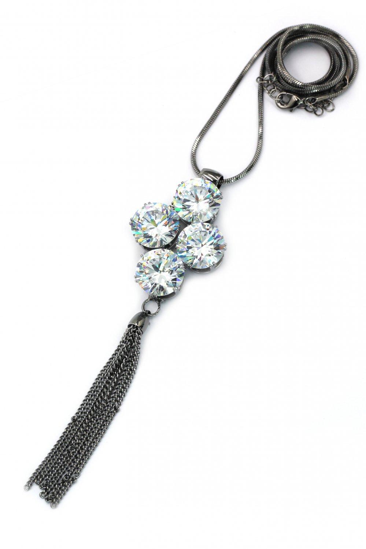 Fashion big circle crystal silver black necklace