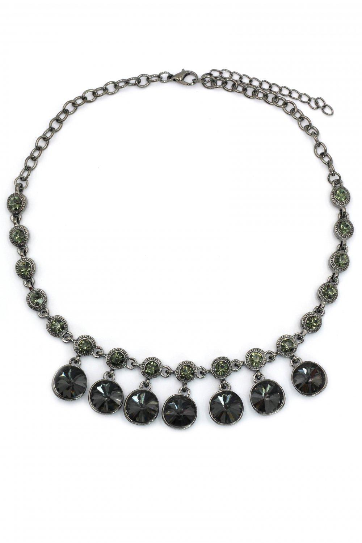 Fashion silver black circularity crystal necklace