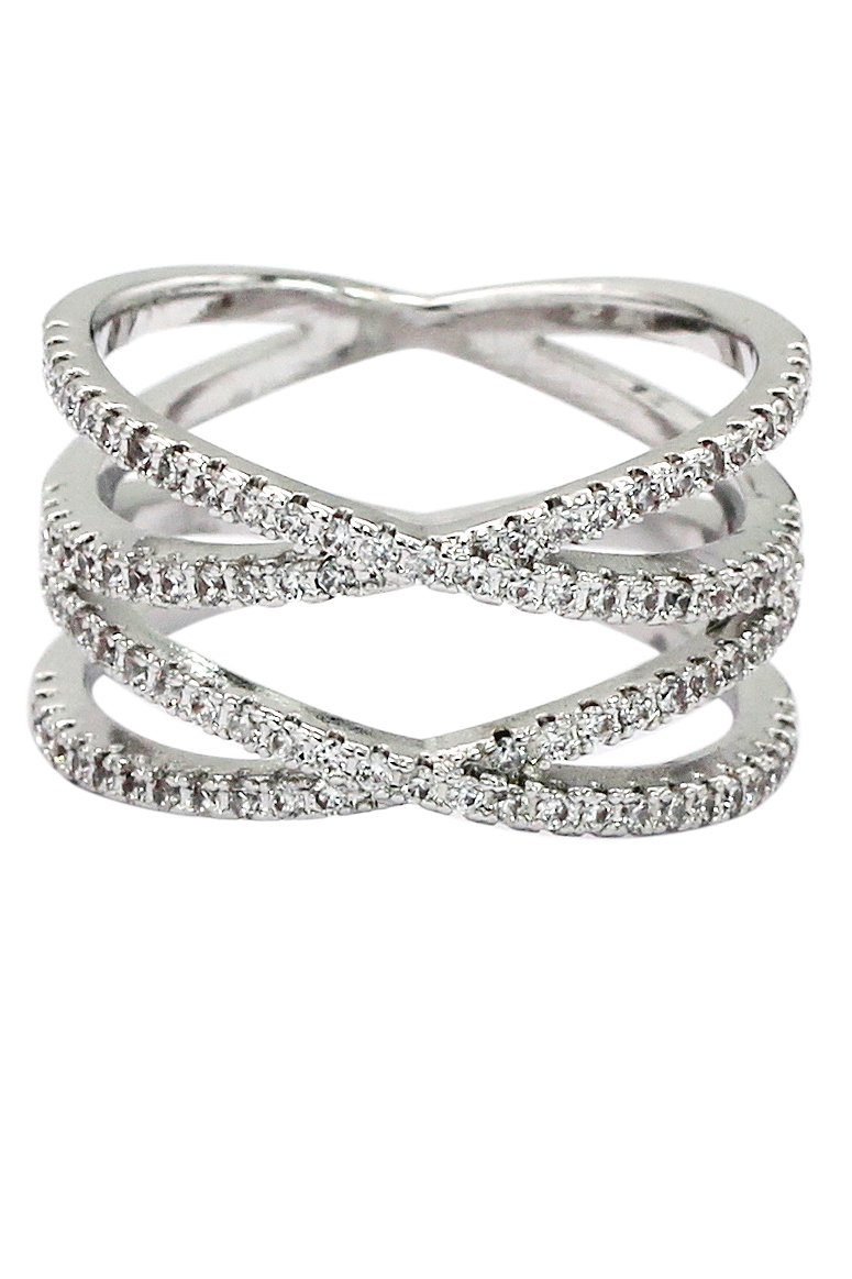 Fashion  small crystal intersect silver ring
