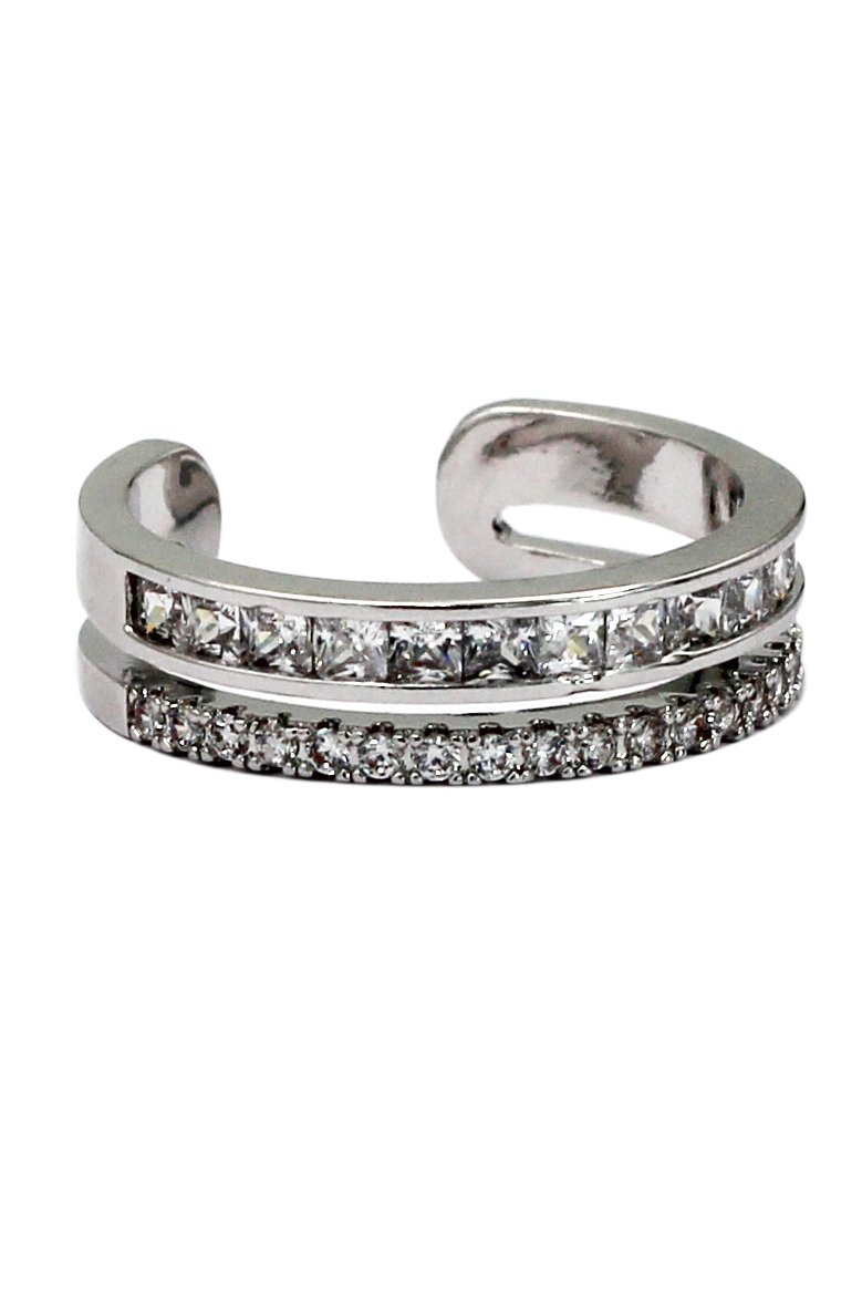 Micro pave small crystal silver ring
