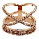 Fashion hat crystal rose gold ring