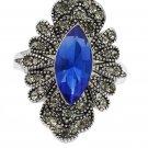 Noble blue heart crystal flower ring