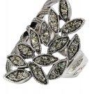 Fashion asymmetrical gray-green crystal silver ring