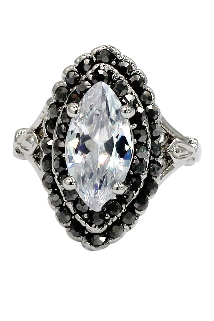 Current white crystal silver ring