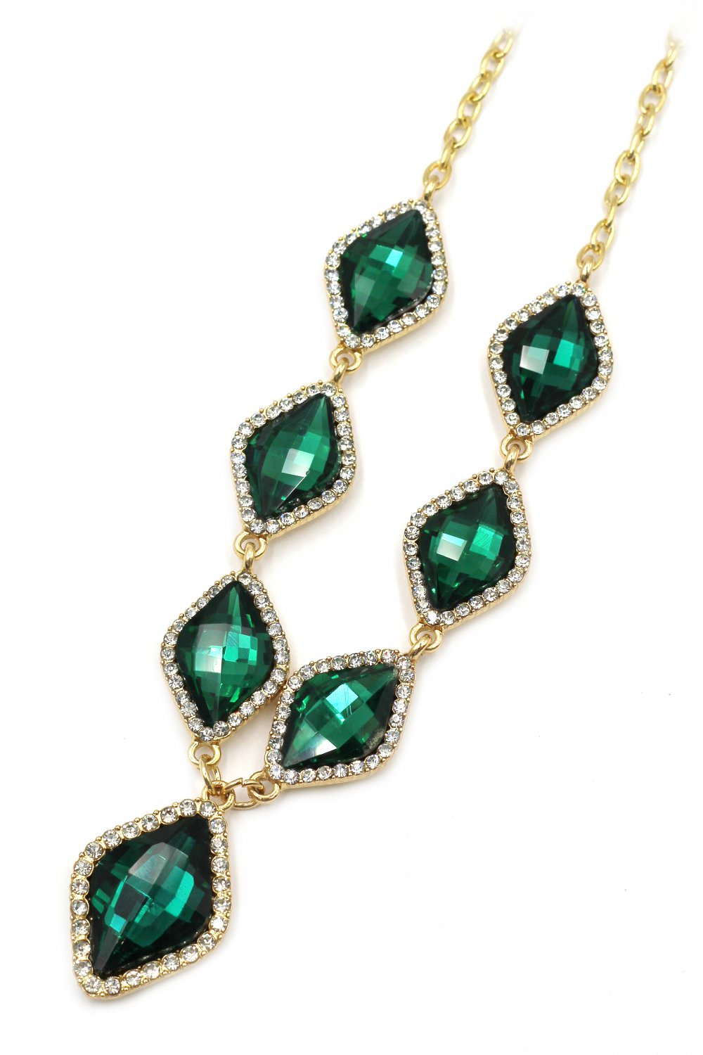 Fashion rhombus green crystal golden necklace