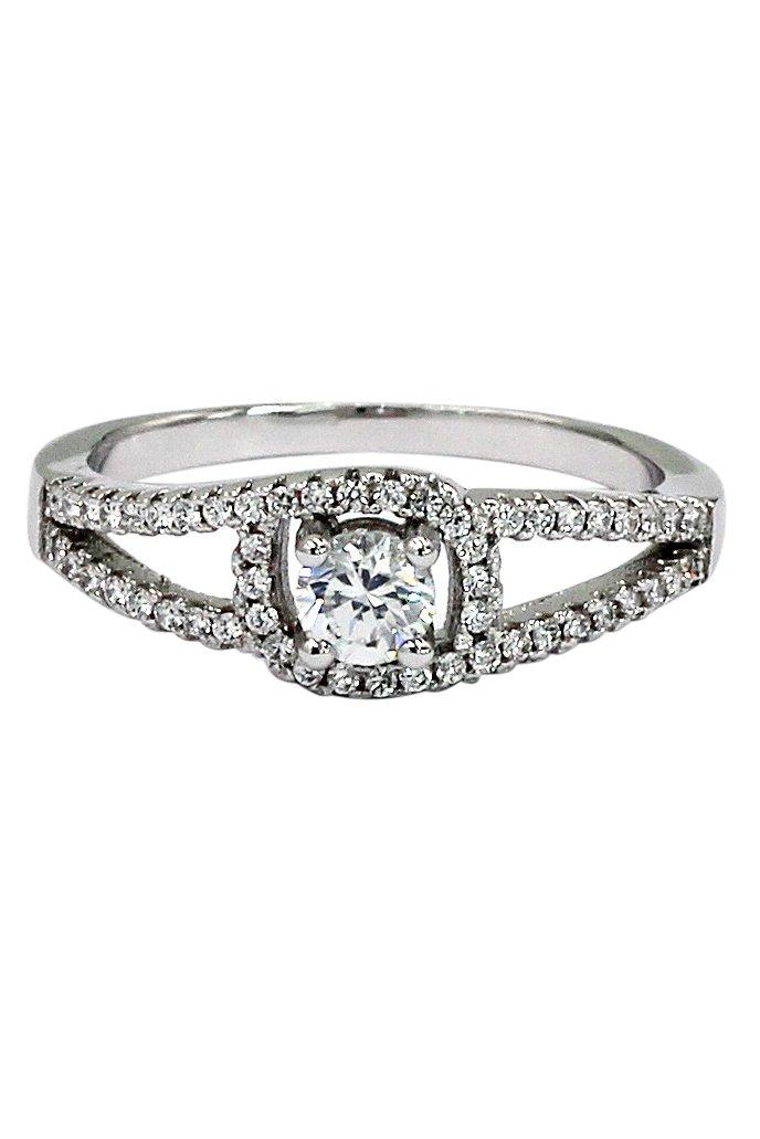 Fashion small crystal eye silver ring