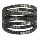 Fashion micro-set small crystal loop black ring