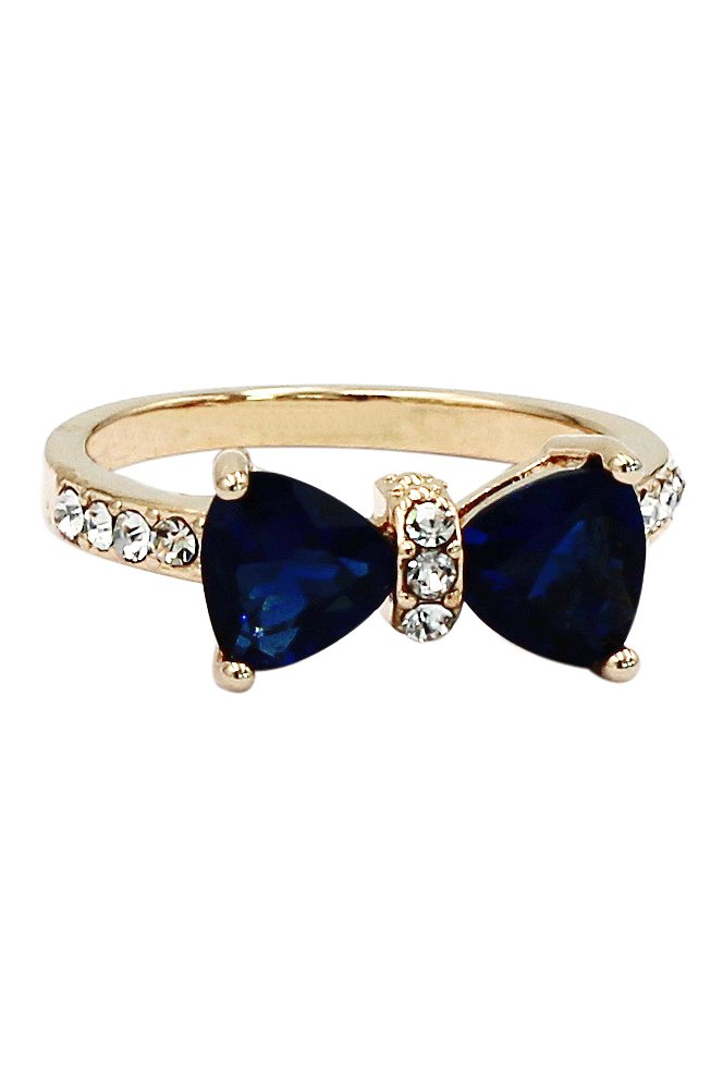 Fashion blue crystal bow golden ring