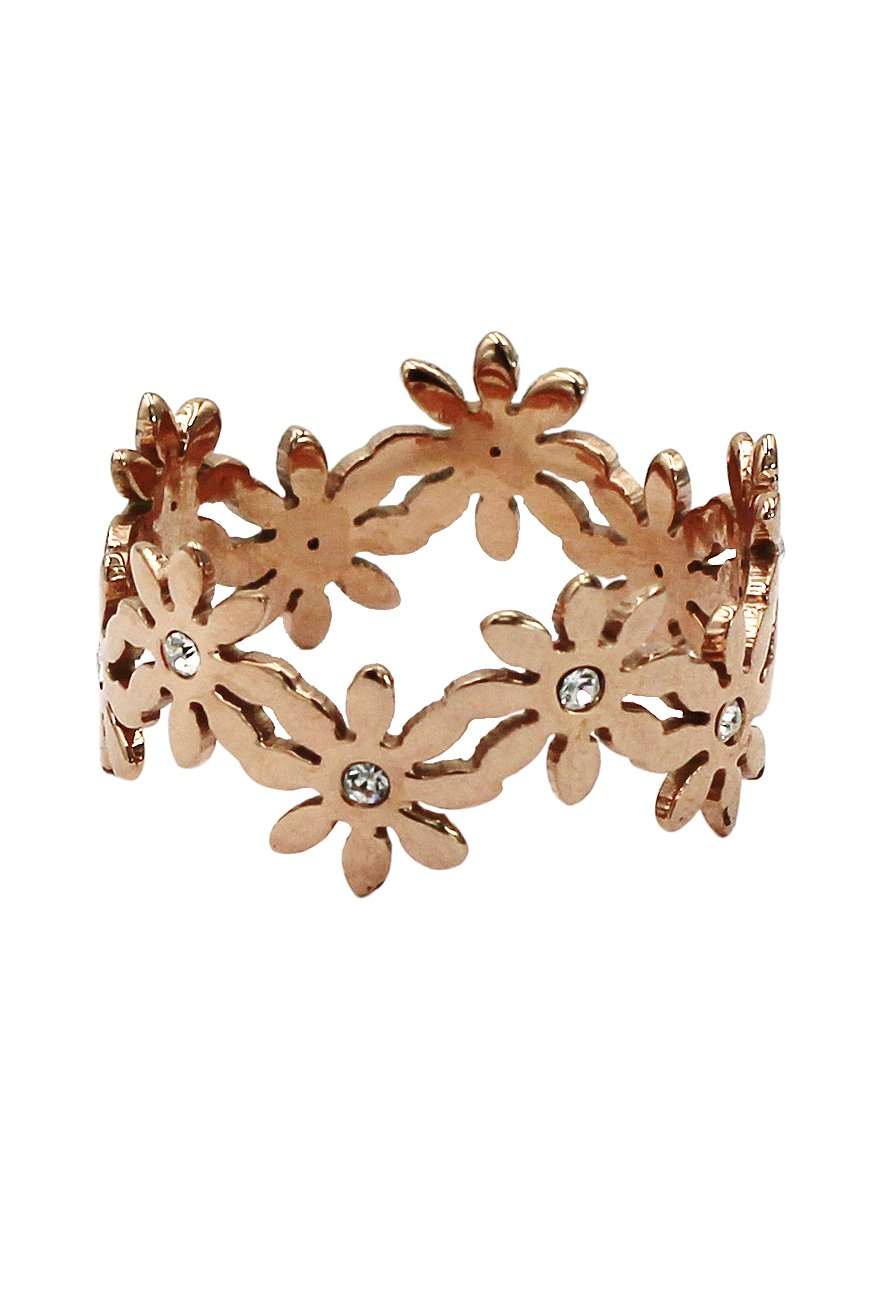 Fashion rose gold flowers ring