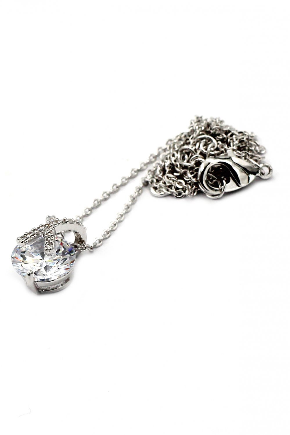 Fashion mini X front crystal Sterling Silver Chain silver necklace