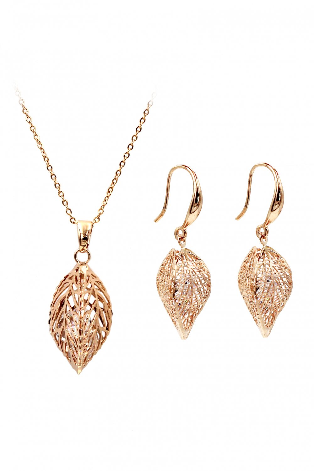 Lady foliage crystal rose gold set