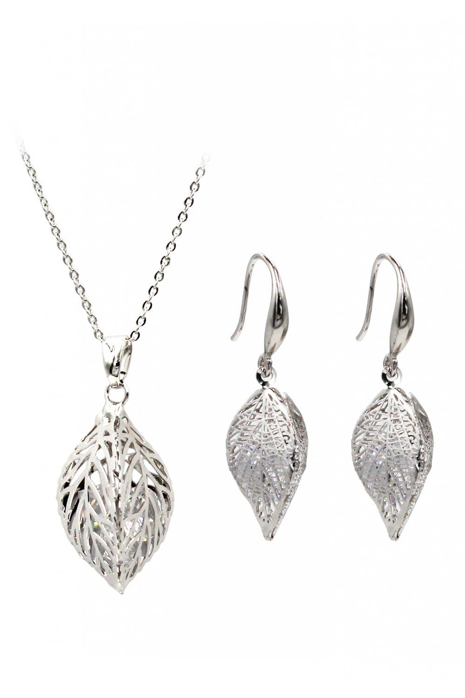 Lady foliage crystal silver set