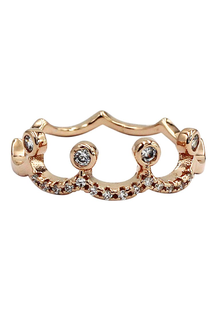 Small crown rose gold mosaic crystal ring