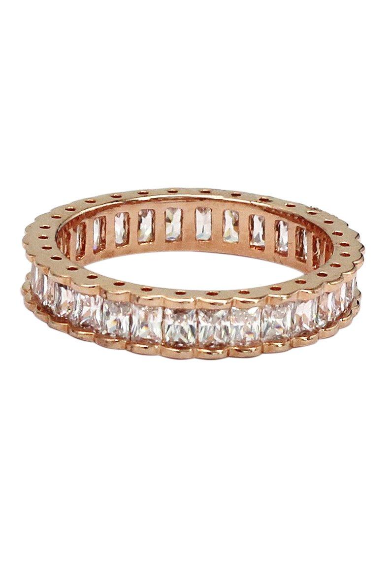 Fashion crystal row rose gold ring