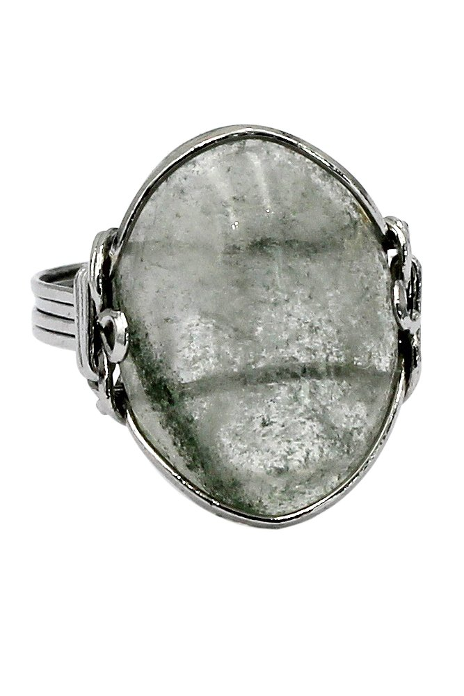Fashion transparent natural stone silver ring