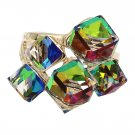 Noble multicolor square crystal golden ring