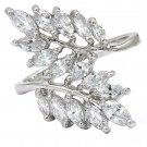 Noble fringe crystal lady silver ring