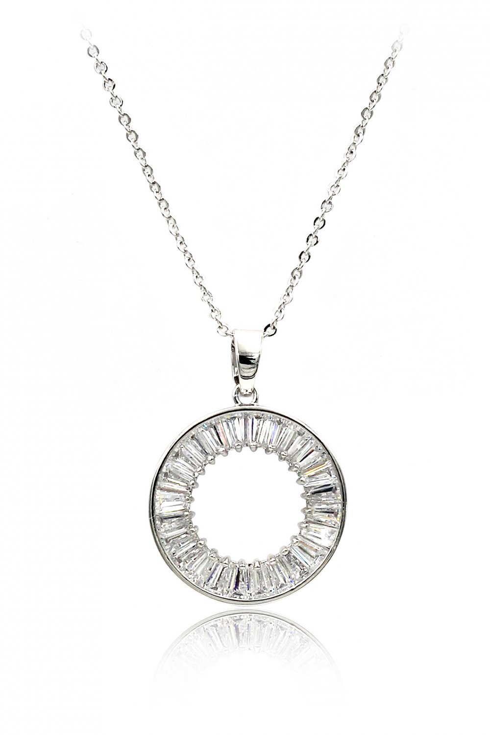 Fashion crystal circle silver necklace