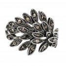 Fashion jet hematite small crystal silver ring