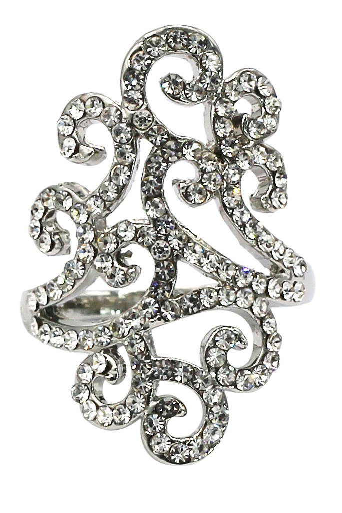 Fashion clouds crystal silver ring