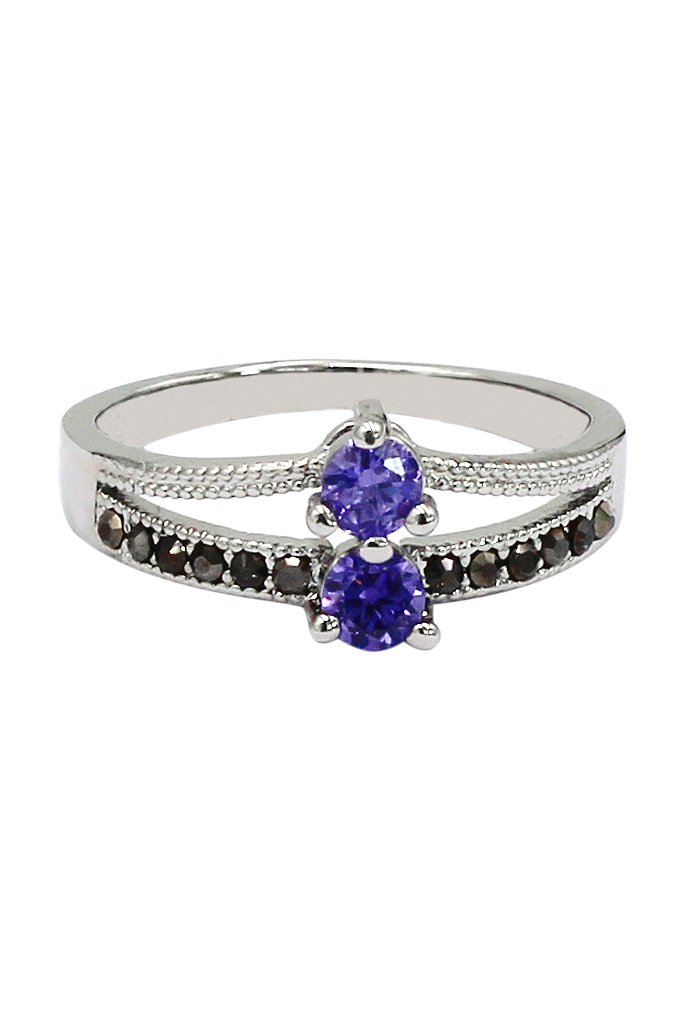 Purple small crystal silver ring