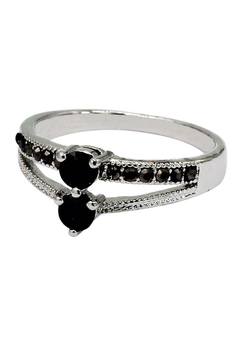 Black small crystal silver ring