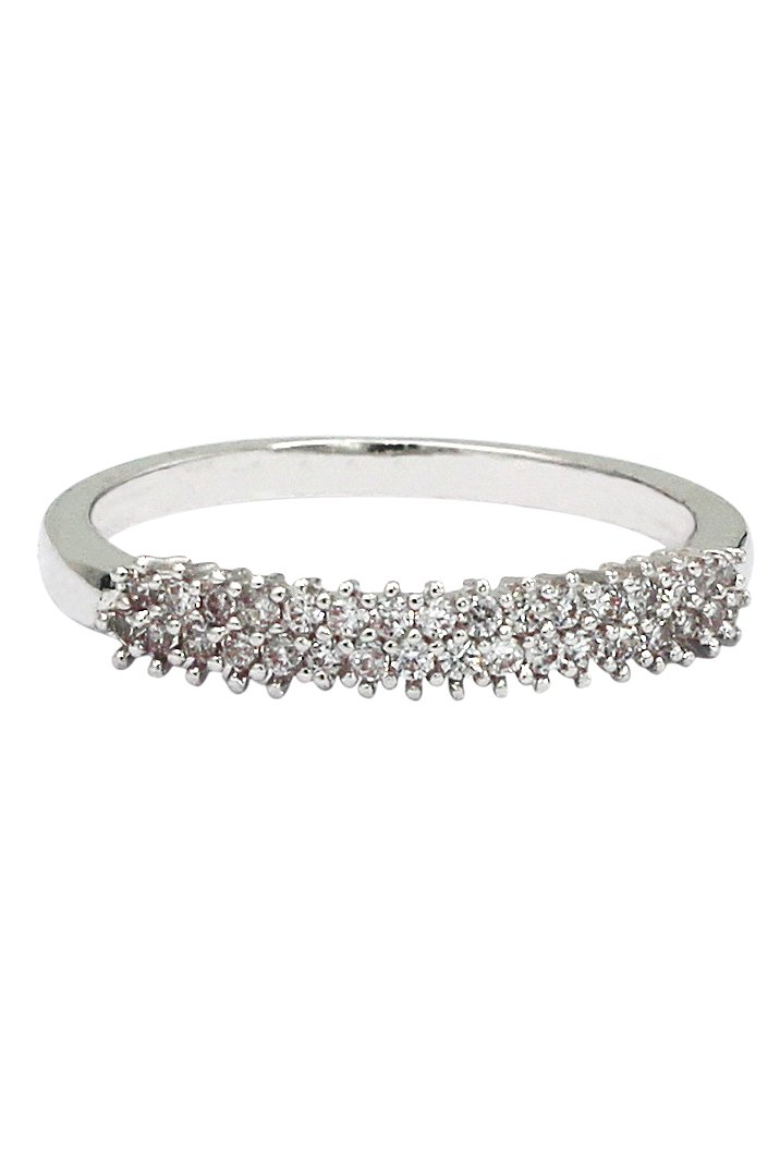 Lady mosaic small crystal silver ring
