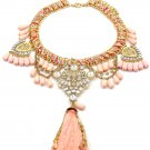 Colorful tassel national crystal and pink beads necklace