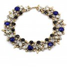 Elegant full colorful blue crystal necklace