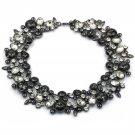 Elegant full colorful black crystal necklace