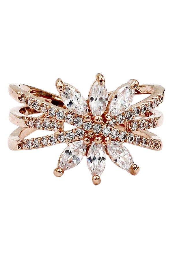 Shiny rose gold crystal ring