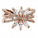 Shiny rose gold crystal ring