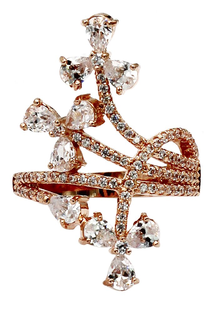Elegant little crystal rose gold ring