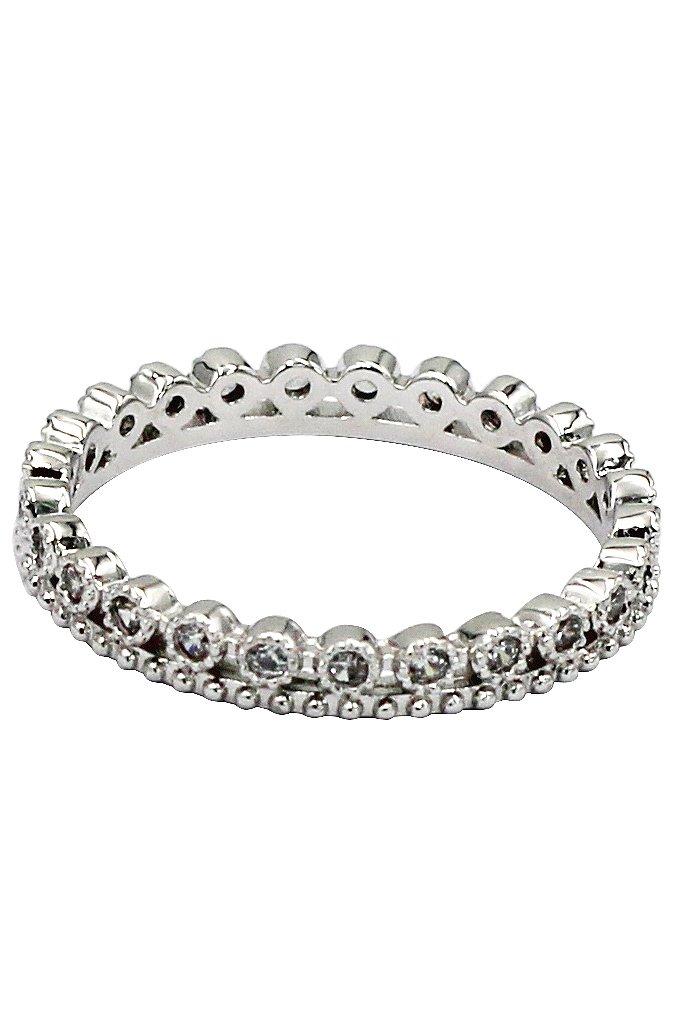 Mini Inlaid crystal silver ring