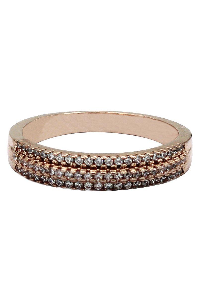 Fashion rose gold mosaic small crystal ring