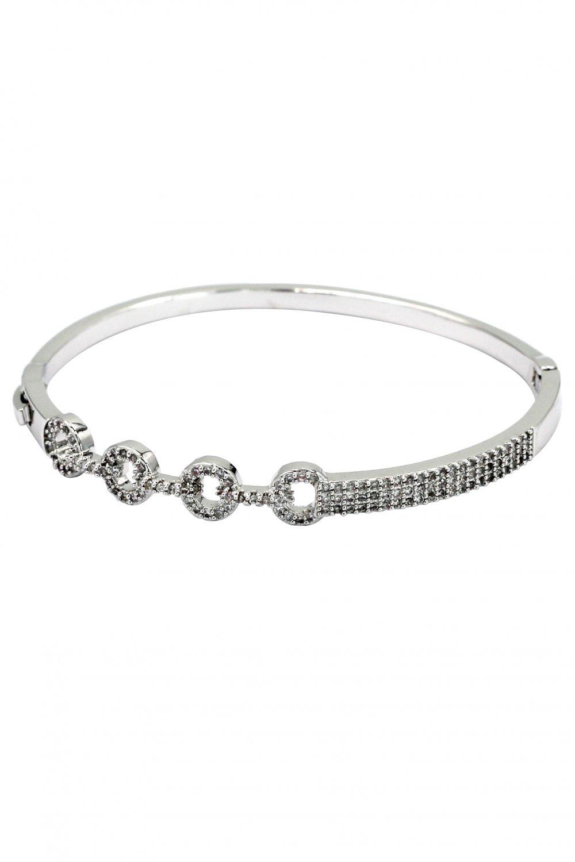 Fashion circle inlaid small crystal silver bracelet
