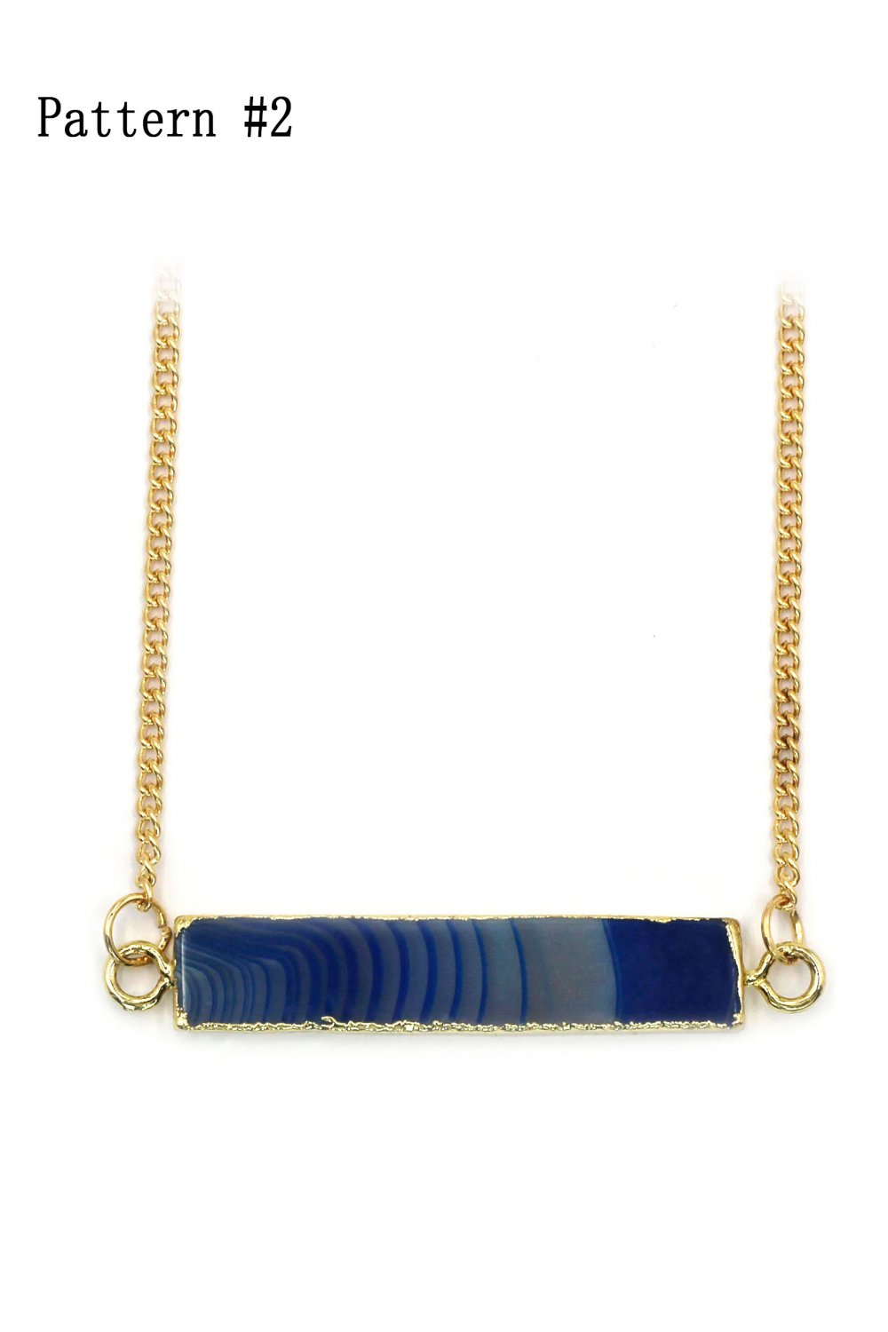 Fashion natural stone golden necklace Pattern #2