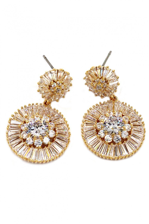 Shining circle crystal gold earrings