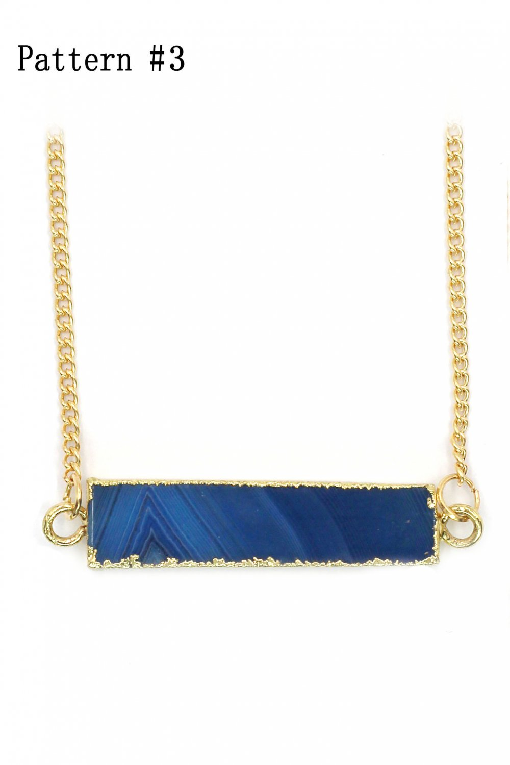 Fashion natural stone golden necklace Pattern #3