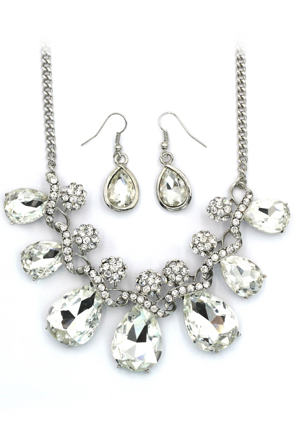 Noble cobblestone crystal necklace earrings silver sets