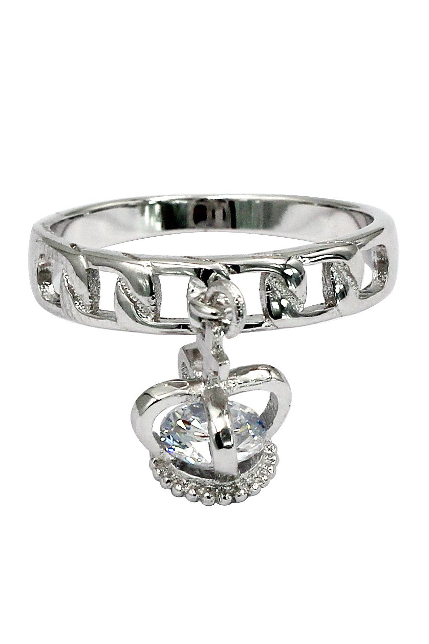 Fashion pendant little crown silver ring