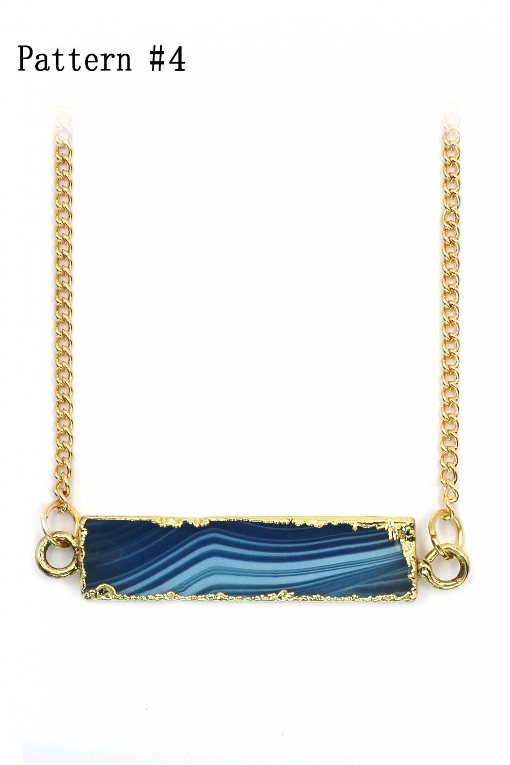 Fashion natural stone golden necklace Pattern #4