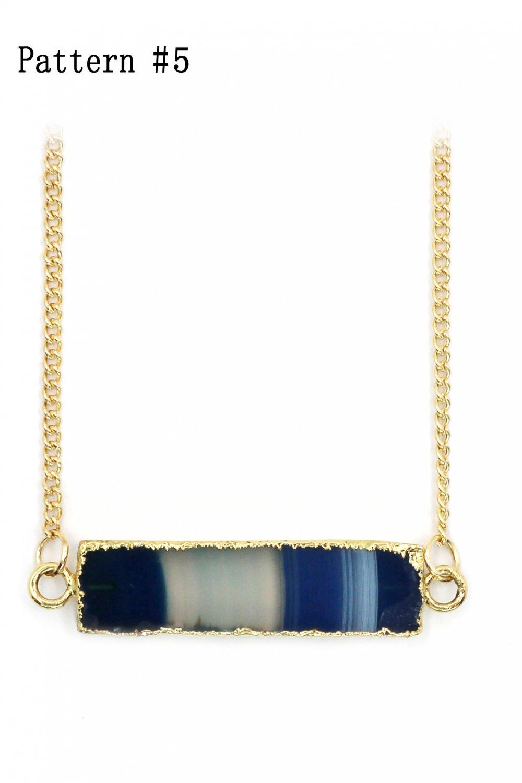 Fashion transparent natural stone golden necklace Pattern #5