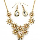 Brilliant golden flower white crystal necklace earrings set
