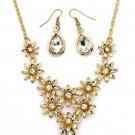 Brilliant golden flower white crystal necklace earrings set