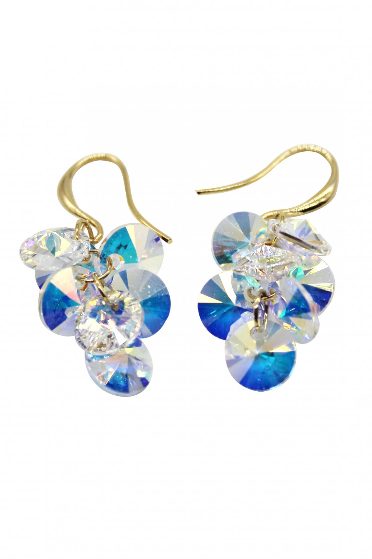 Sparkling swarovski crystal gold earrings