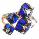Square candy blue crystal rose gold ring