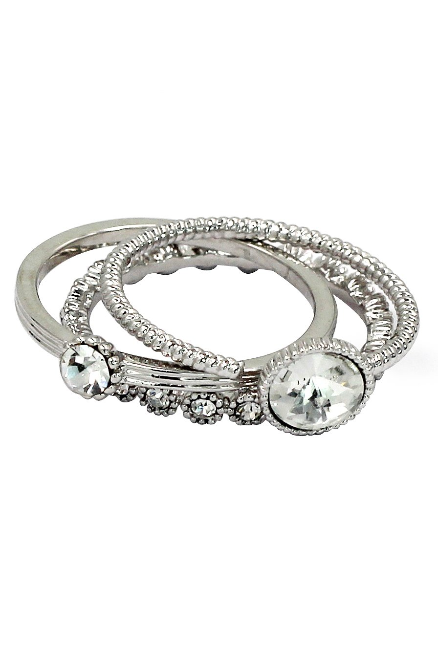 Fashion white crystal assemble silver ring