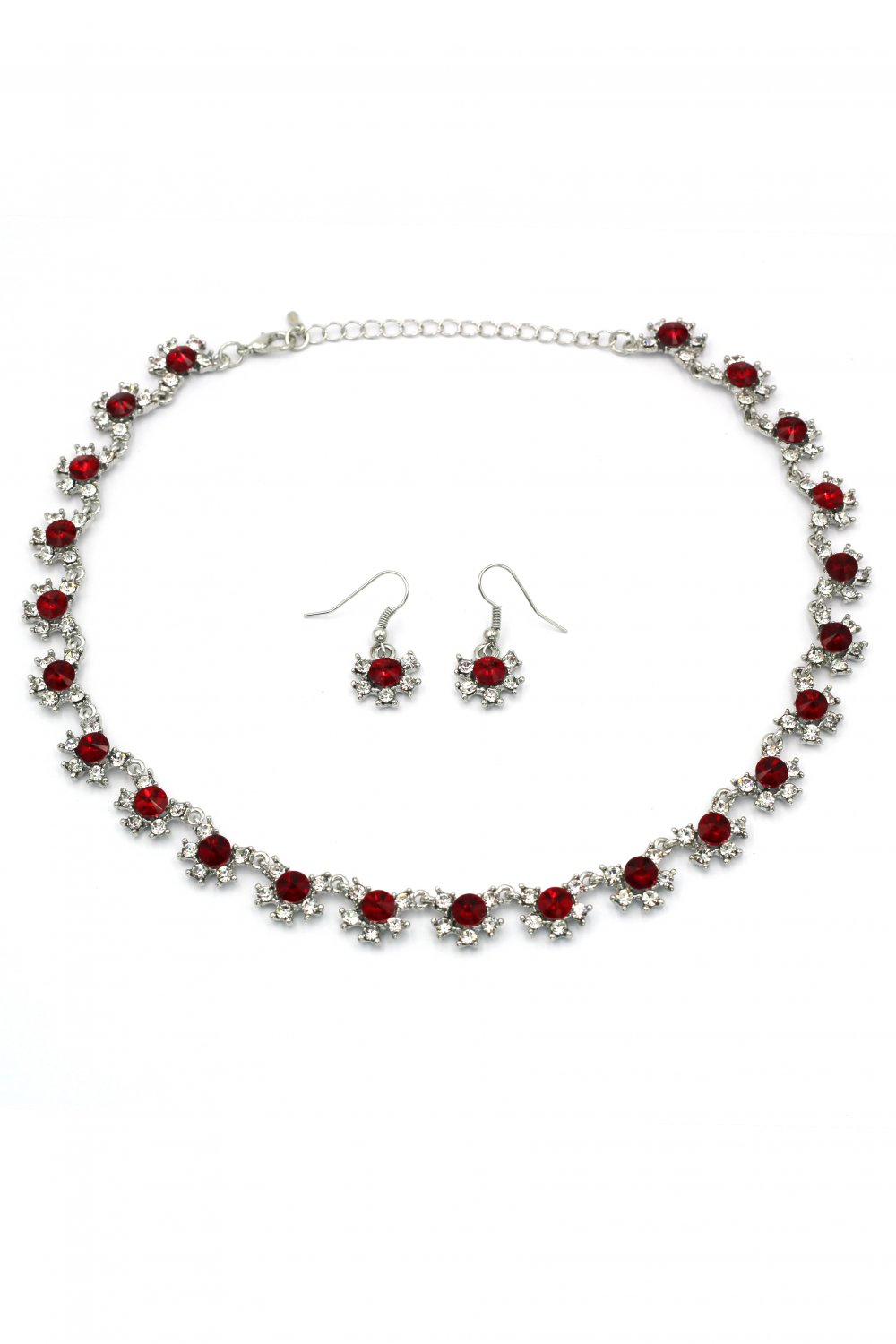Classic red crystal necklace earrings silver set